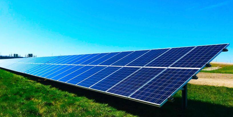 solar panels, blue sky
