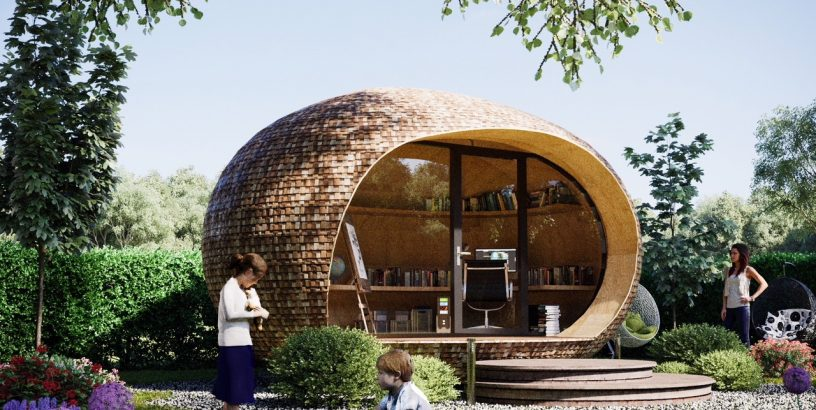 pod-shaped office, garden, children playing