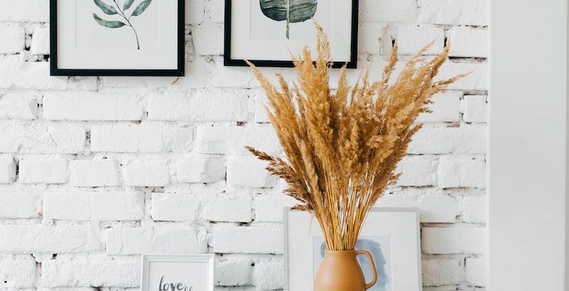 dresser, plant pot, picture frames