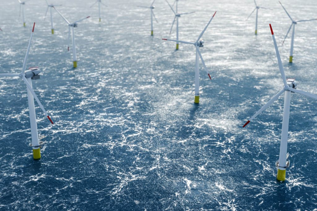 Off-shore electricity generating wind turbines in the sea