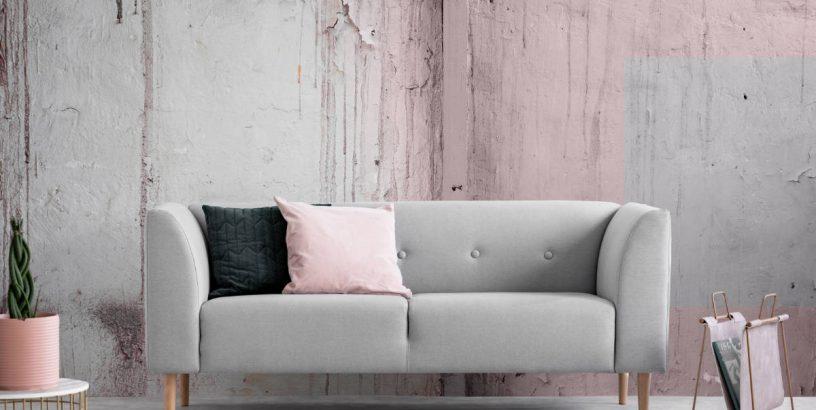 Shabby Chic sofa and wall