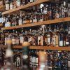 Spirit bottles on shelves