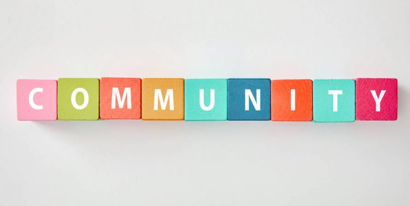 Community written on toy blocks