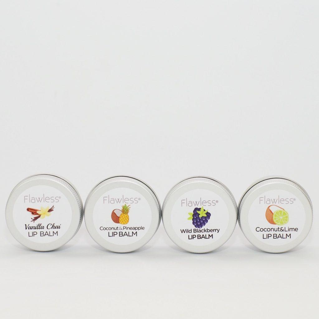 Four pots of vegan lip balm