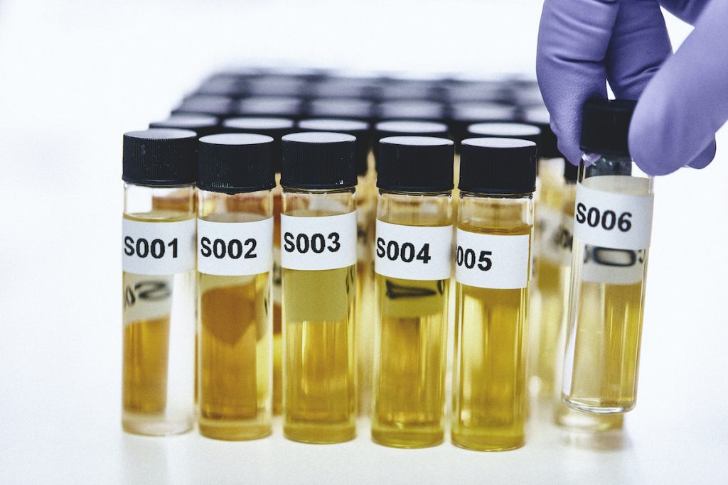 vials filled with yellow liquid