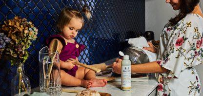 baby in kitchen
